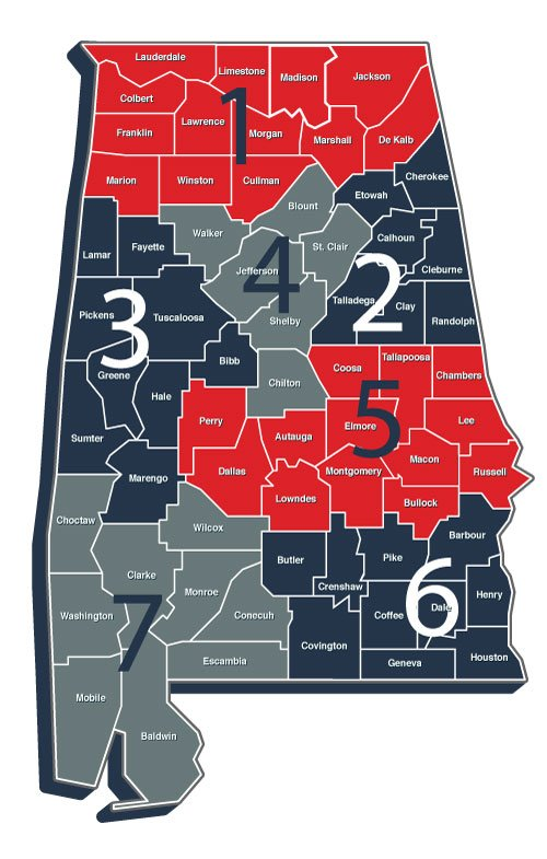 county map of Alabama