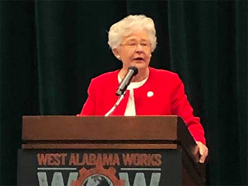Governor Kay Ivey speaking at event
