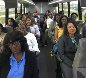 group of people on a bus