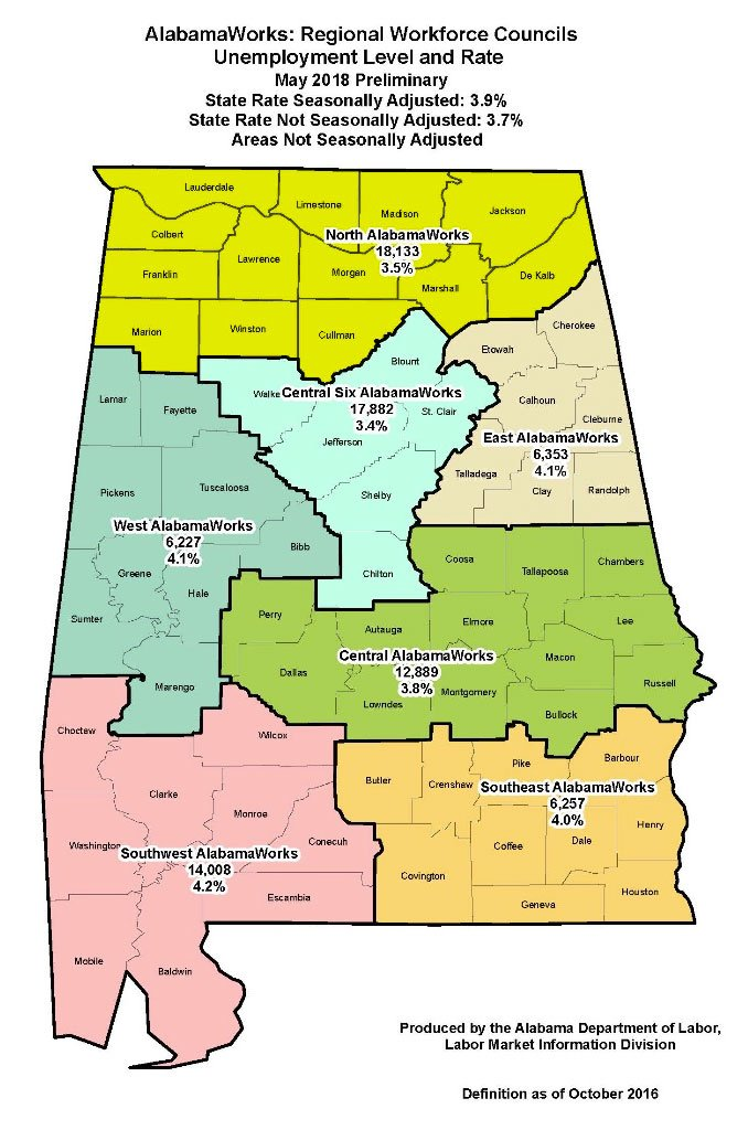 Unemployment numbers displayed on Alabama state map